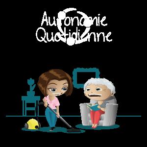 Une dame passe l'aspirateur pour une personne âgée qui lit dans son fauteuil