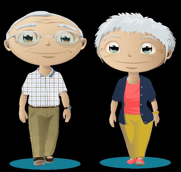 Deux personnes âgées souriantes