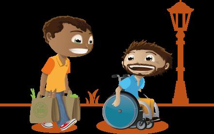 Une personne en fauteuil roulant accompagné par un auxiliaire de vie dans ses courses